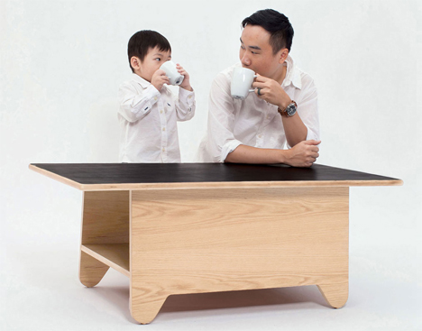 ping pong chalkboard storage coffee table