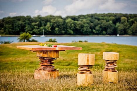 sculptural wooden dining set