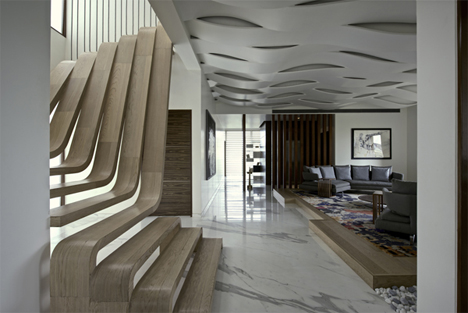 sculptural wooden staircase