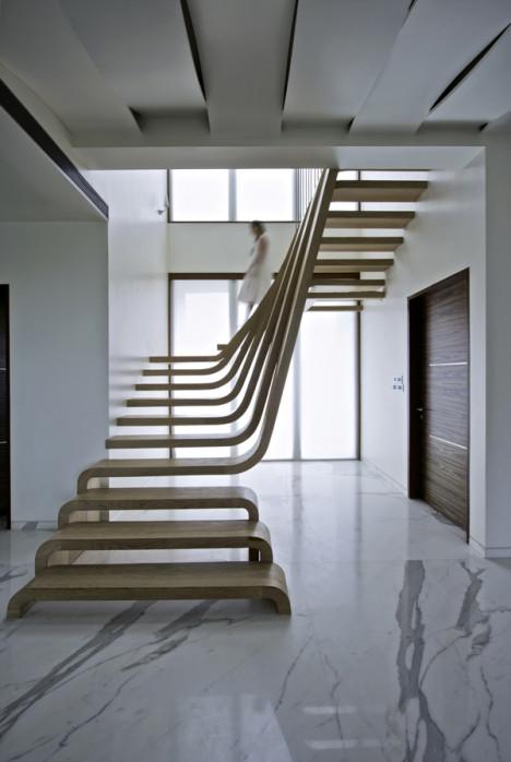 walnut waterfall staircase