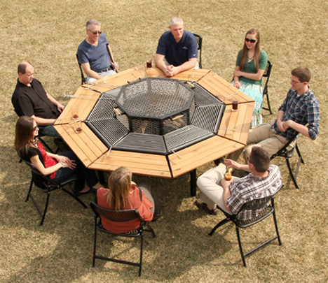 Barbecue Picnic Table Lets Everyone Cook Their Own Meal - Fire pit and grill table