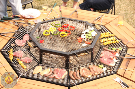 Barbecue Picnic Table Lets Everyone Cook Their Own Meal
