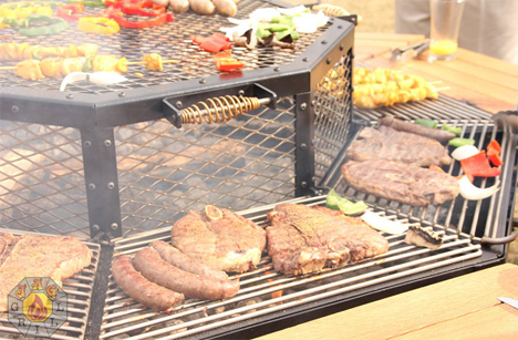 jag outdoor grill with attached picnic table