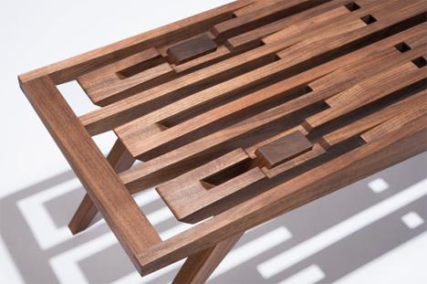 patterned wood eastside bench
