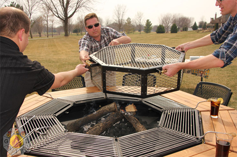 Barbecue Picnic Table Lets Everyone Cook Their Own Meal - Picnic table with grill built in