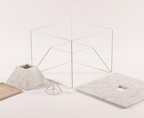 metal frame marble surface planter