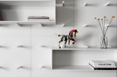Elegant Movable Customizable Modular Wall Storage System