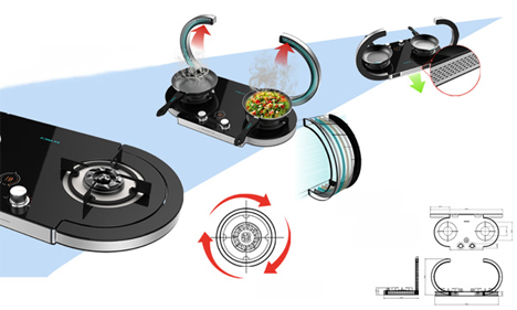 portable cooktop with flip-up chimneys