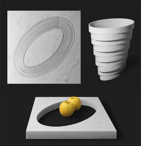 stacked vase and fruit bowl