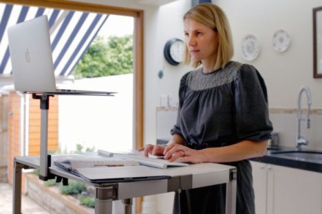 Work Healthier Mobile Standing Desk With Monitor Stand