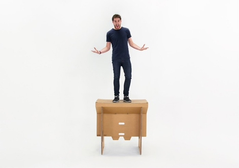 sturdy and compact folding standing cardboard desk