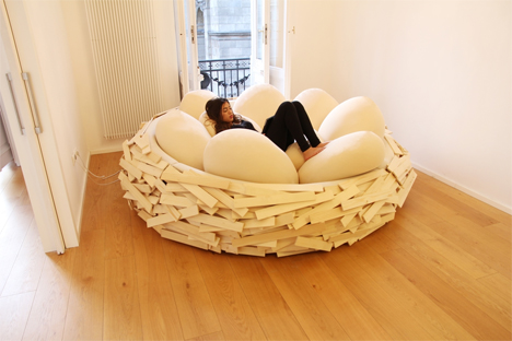 birds nest lounger with giant egg pillows