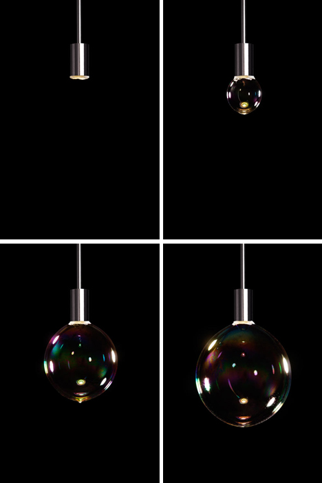 surface tension bubble blowing lamp