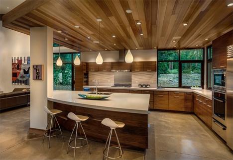 Unstained Concrete Floor In Kitchen