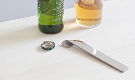 attractive bent stainless steel bottle opener