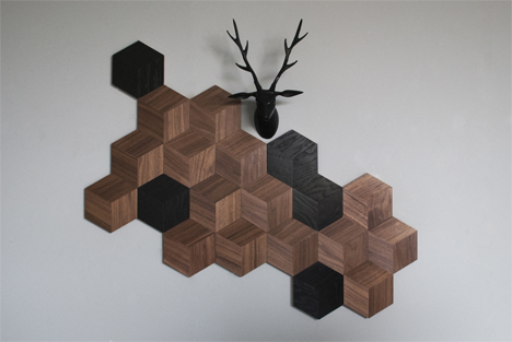 Black And Brown Wall Arrangement Wood Tiles