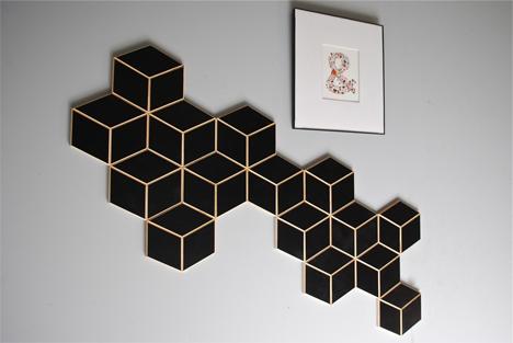 black hexagon wood tiles display