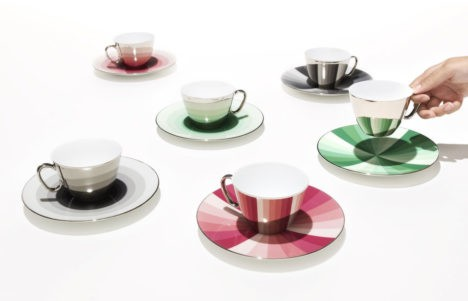 cups and saucers mirrored surface