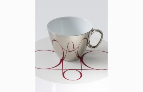 reflective cups and saucers