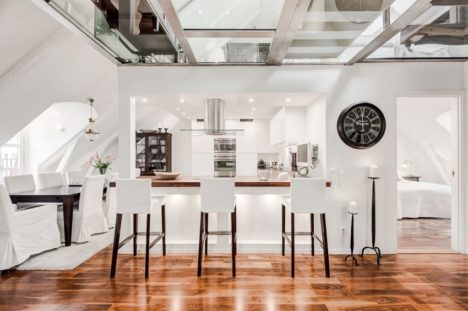 A Glass Wall Within The A Frame Of The Attic Sections Off The Bedroom To  Soundproof The Space Without Closing It Off From The Lounge Area Just  Outside, ...