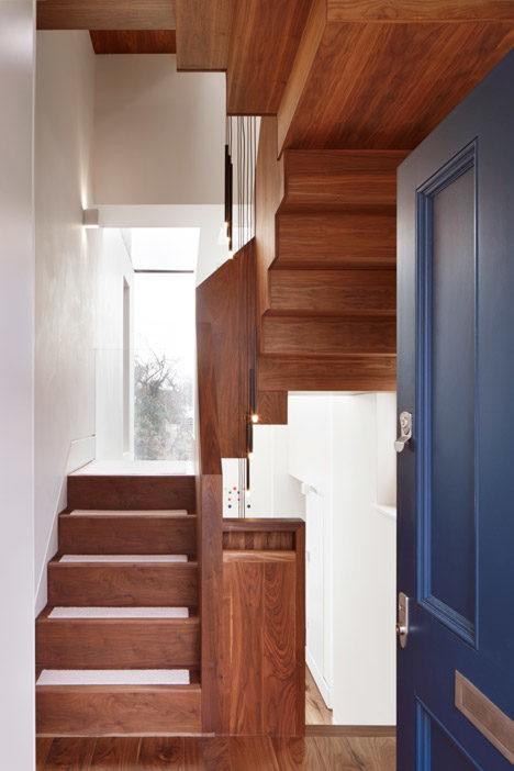 winding walnut staircase