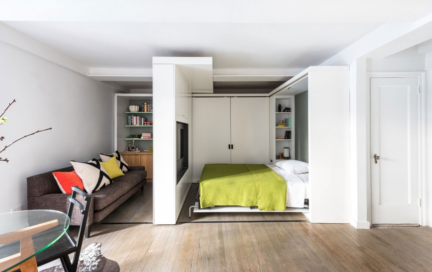 Slide The Portable Volume Away From Wall To Reveal A Dressing Area With Closet Mirror And Built In Dresser Drawers Once It S Fully Extended