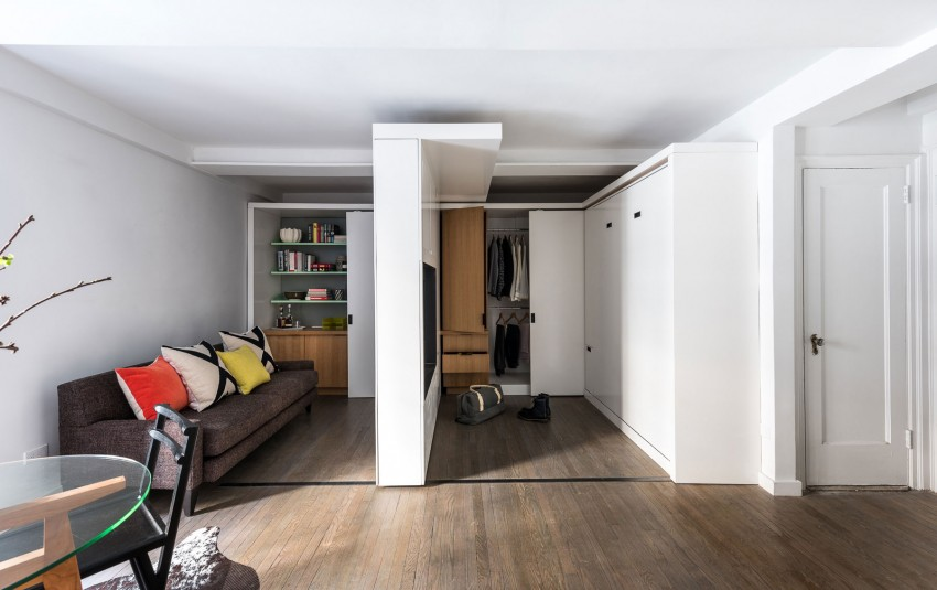 Adaptable Apartment: Sliding Wall Transforms Small Space
