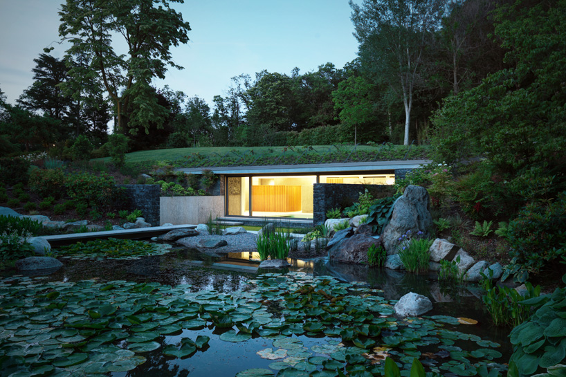 Hidden Oasis Green Roofed Indoor Pool Leads To Sunken Lily Pond