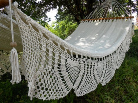 White handwoven cotton hammock