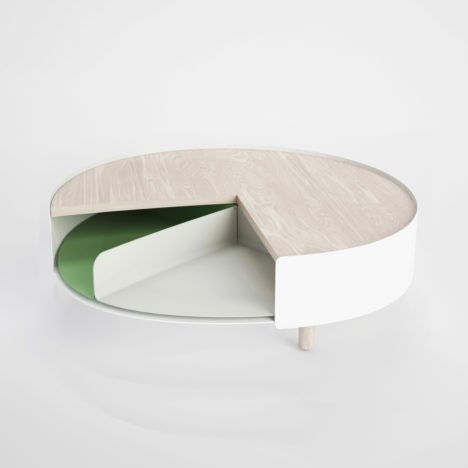 Revealing Rotation Sliced Coffee Table Offers Hidden Storage