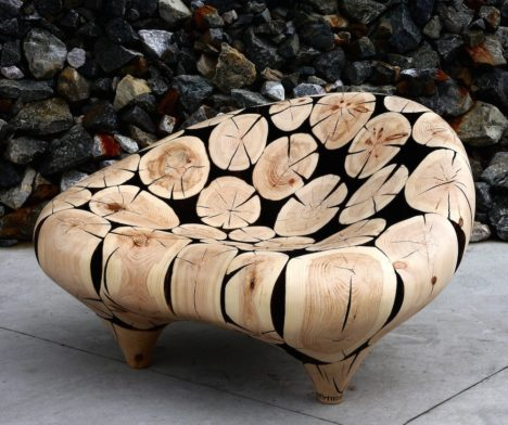 Lounge-Chair-in-Big-Cone-Pine-Cross-Sections-by-Jaehyo-Lee