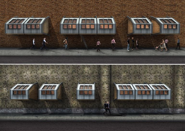 colony of homes for the homeless pods