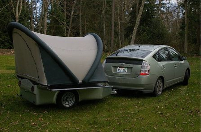 Ultralight Tent Trailer Follows Your Motorcycle or Small Car