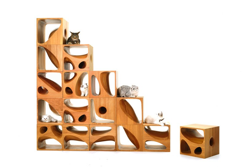 Catable modern modular wooden furniture for cats for Escaleras kotas