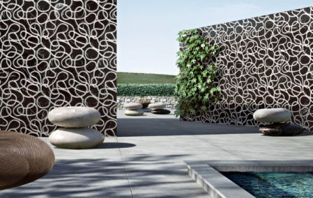 Kreoo marble seats in a pool landscape