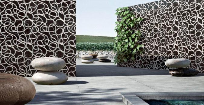 Kreoo marble seats in a pool landscape