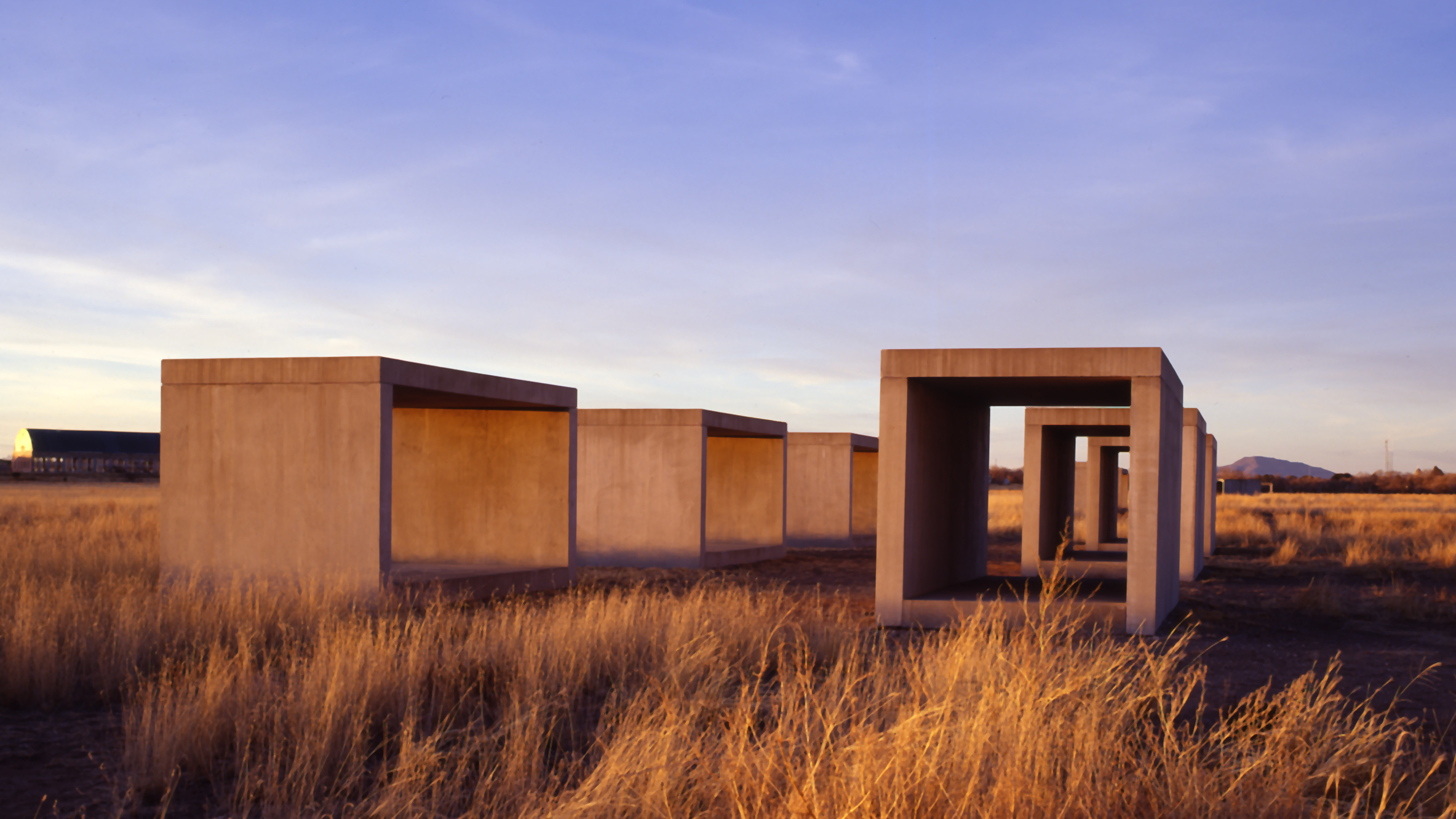 Giant cubes by artist Donald Judd in Marfa, Texas