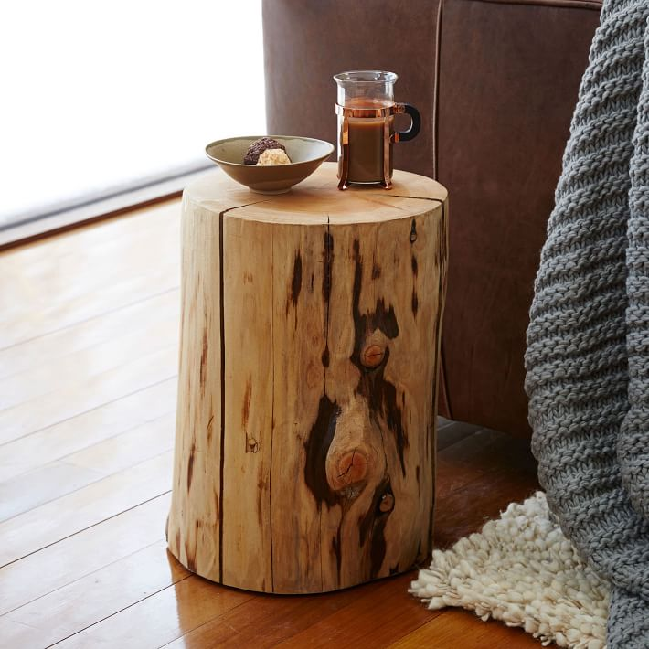 Natural Tree Stump Side Table by West Elm