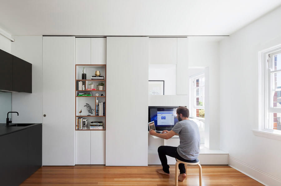 Small Space Hacks: Sliding Cabinet Doors Hide Clutter