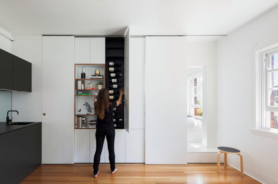 Small Space Hacks Sliding Cabinet Doors Hide Clutter