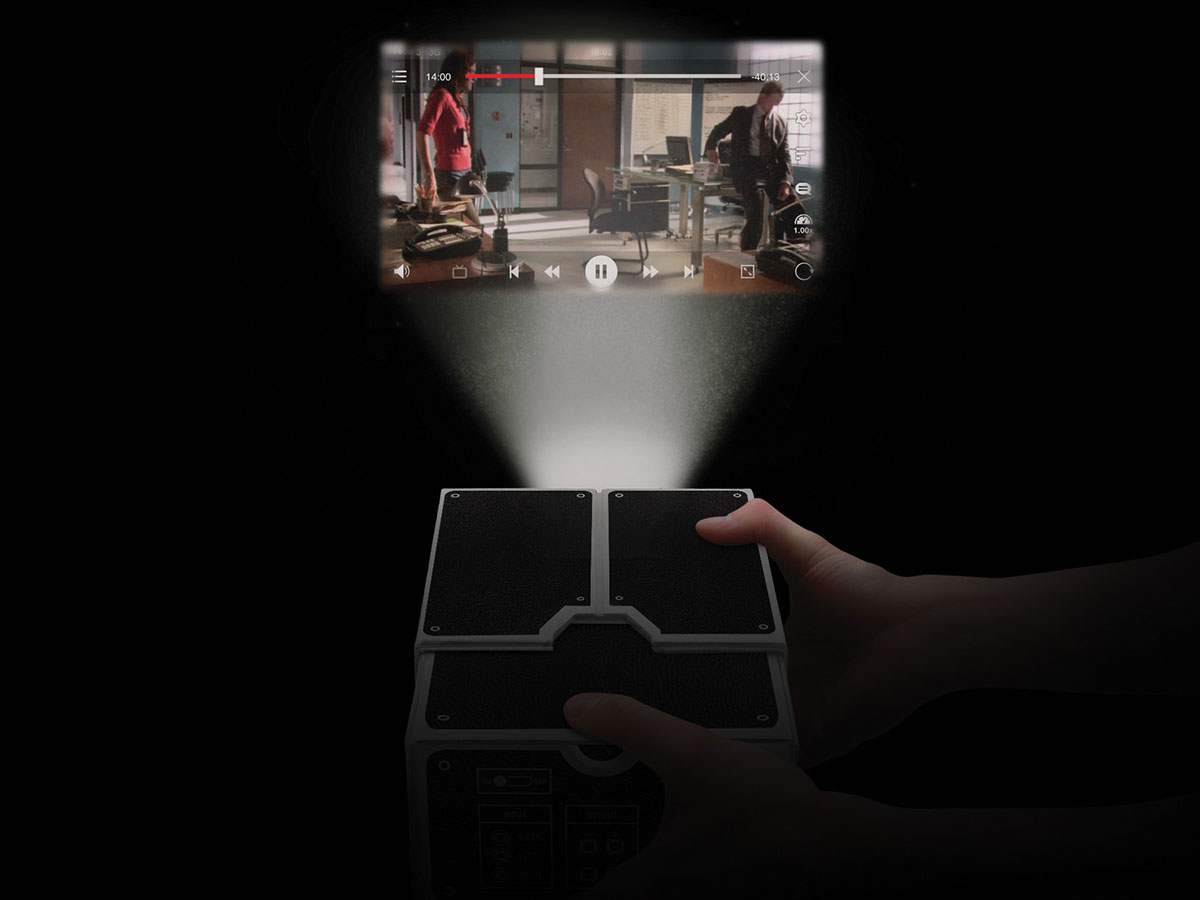 The Smartphone Projector enlarges images and video up to 8 times