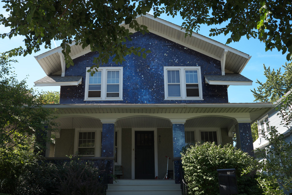 Night House Artistic Facade Blends House Into The Starry Sky
