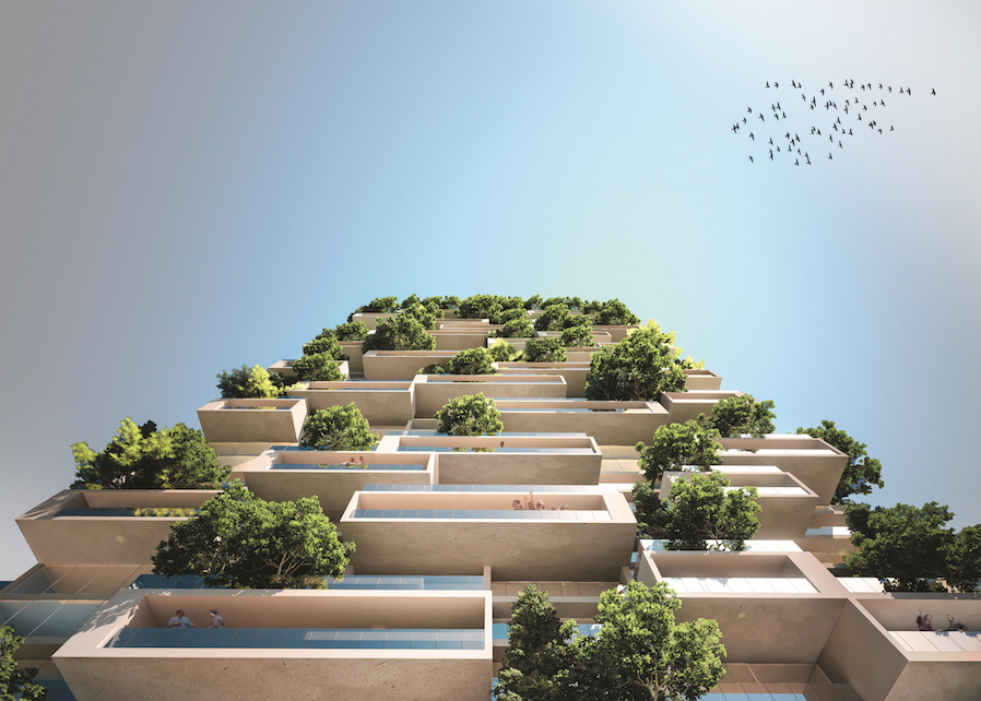 The Tower of the Cedars in Lausanne will be covered in 100 cedar trees, 24,000 plants in all