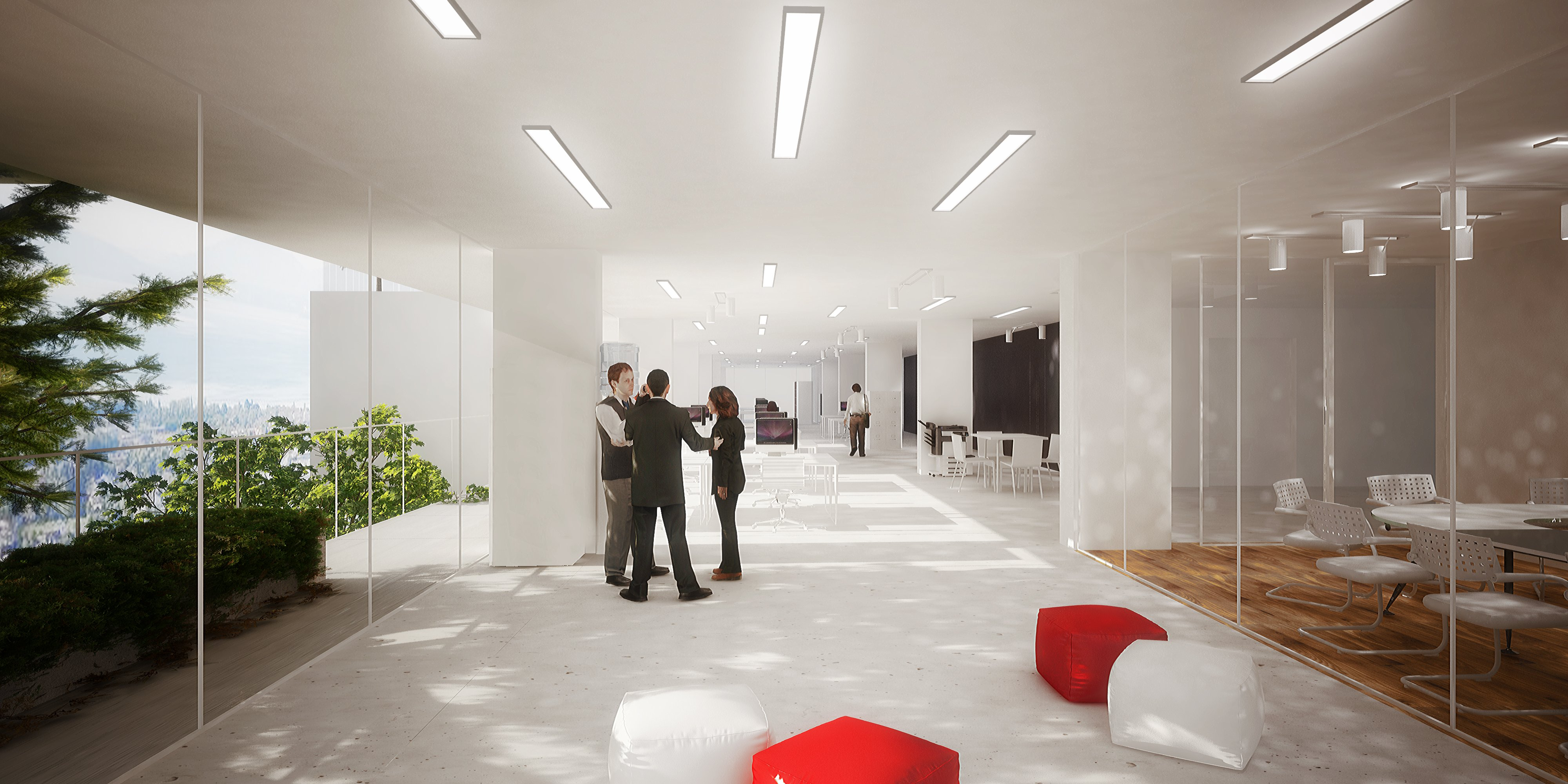 An office space rendering for the Tower of the Cedars project in Lausanne
