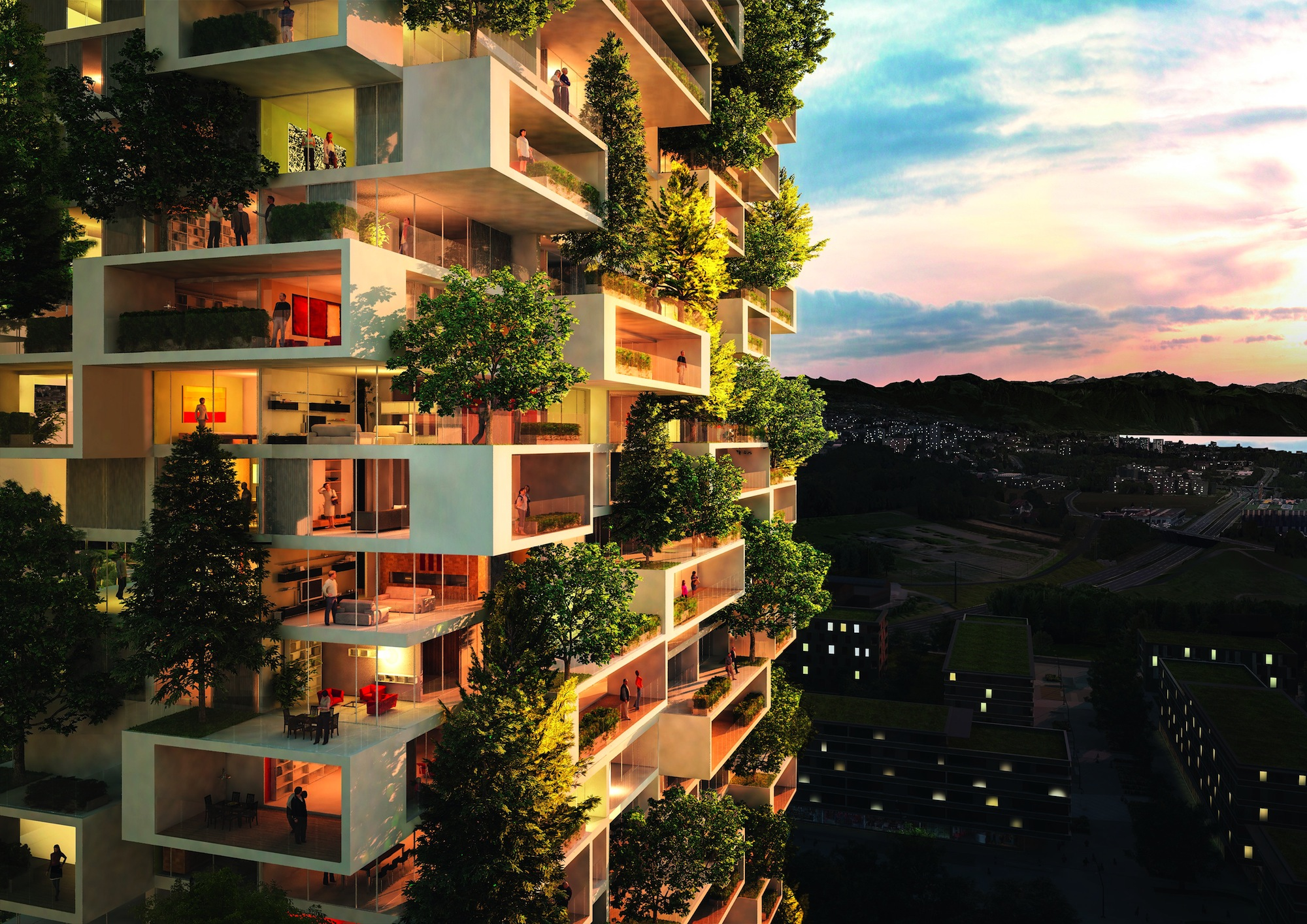 The 36-floor, 384-foot Tower of the Cedars in Switzerland will feature apartments in various sizes