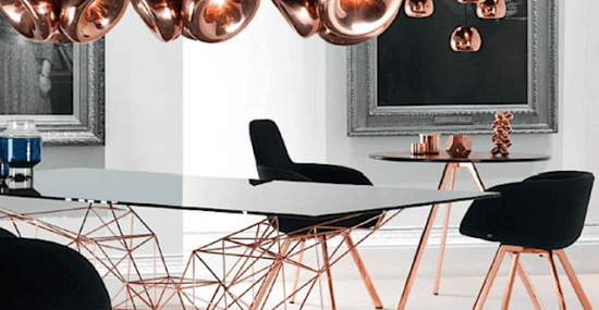 Scoop high chair in rose gold