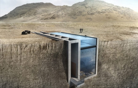 Casa Brutal dramatic cliffside residence by OPA, set to be built in Lebanon.
