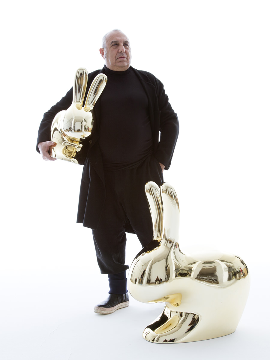 Stefano Giovannoni with his 'Rabbit' chairs