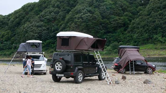 The tent is made of a waterproof and breathable fabric body fiberglass roof and aluminum honeycomb floor and comes with an integrated mattress that sleeps ... & Rooftop Camper: Hard Top Pop-Up Tent for Your Vehicle