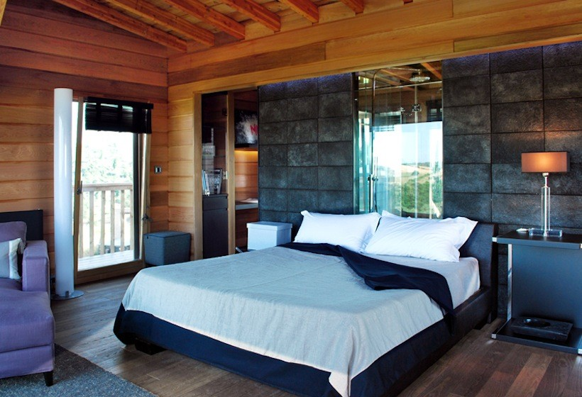 black cabin bedroom